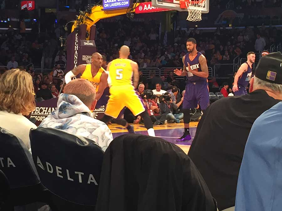 Kobe goes to work, Flea second on the left