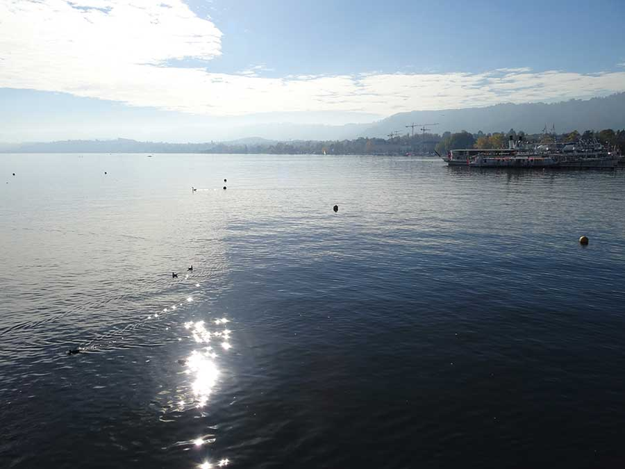 Lake Zurich with mountain backdrop