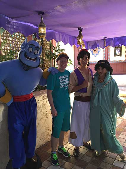 Michael with the Aladdin characters